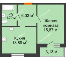 1 комнатная квартира 43,62 м² в ЖК Артемовский квартал, дом Секция 10 - планировка