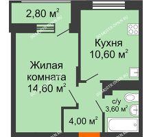 1 комнатная квартира 34,2 м² в ЖК Цветы 2, дом № 4 - планировка