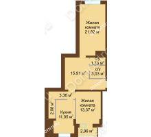 2 комнатная квартира 75,59 м² в ЖК Подкова на Панина, дом № 7, корп. 6 - планировка