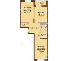 2 комнатная квартира 75,8 м² в ЖК Монолит, дом № 89, корп. 1, 2 - планировка
