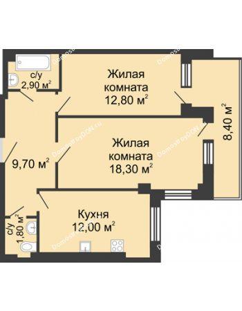 2 комнатная квартира 61,7 м² - ЖК Дом на Береговой