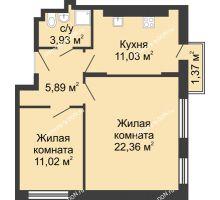 2 комнатная квартира 55,6 м², ЖК Соборный - планировка