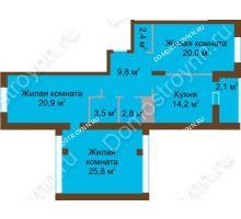 3 комнатная квартира 101,5 м² в ЖК Монолит, дом № 89, корп. 1, 2 - планировка