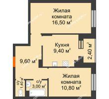 2 комнатная квартира 52,1 м² в Микрорайон Прибрежный, дом № 8 - планировка