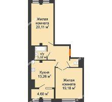 2 комнатная квартира 69,17 м² в ЖК Малахит, дом № 1 - планировка
