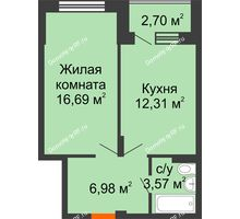 1 комнатная квартира 40,9 м² в ЖК Мандарин, дом 1 позиция 1,2 секция - планировка