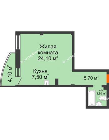 1 комнатная квартира 42,3 м² - ЖК Южная Башня