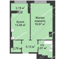 1 комнатная квартира 48,85 м² в ЖК Караваиха, дом № 5 - планировка