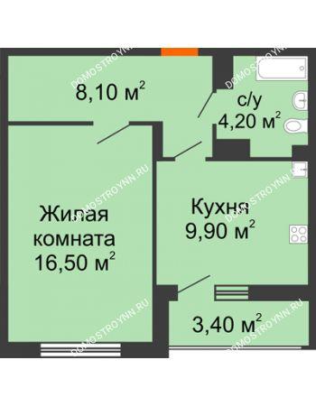 1 комнатная квартира 40,4 м² в ЖК Цветы, дом № 6-2