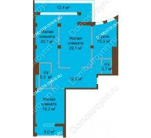 3 комнатная квартира 122,2 м², ЖК Бояр Палас - планировка