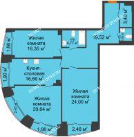 3 комнатная квартира 112,67 м², Клубный дом на Ярославской - планировка