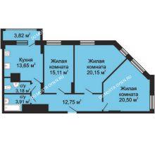 3 комнатная квартира 91,16 м², ЖК Гелиос - планировка