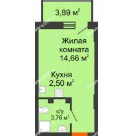 Студия 22,09 м² в ЖК Свобода, дом №2 - планировка
