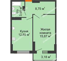 1 комнатная квартира 42,53 м², ЖК Орбита - планировка