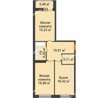 2 комнатная квартира 71,58 м² в ЖК Подкова на Гагарина, дом № 2 - планировка