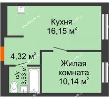 1 комнатная квартира 34,13 м² в ЖК Мозаика Парк, дом ГП-1 - планировка