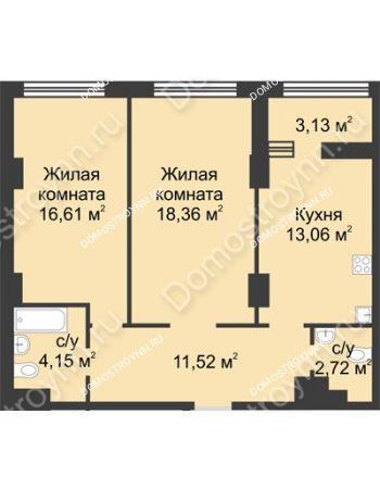 2 комнатная квартира 67,98 м² в ЖК Караваиха, дом № 5