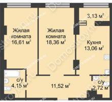 2 комнатная квартира 67,98 м² в ЖК Караваиха, дом № 5 - планировка