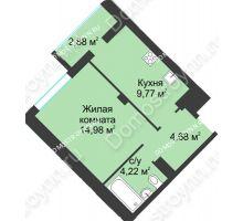 1 комнатная квартира 36,53 м² в ЖК На Вятской, дом № 3 (по генплану) - планировка
