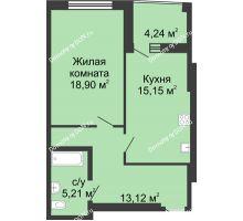 1 комнатная квартира 56,62 м² в ЖК Тихий Дон, дом № 2 - планировка