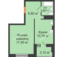 1 комнатная квартира 42,3 м², ЖК Вершина - планировка