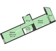 1 комнатная квартира 51,9 м² в ЖК Монолит, дом № 89, корп. 3 - планировка