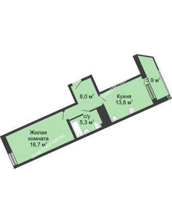 1 комнатная квартира 51,9 м² в ЖК Монолит, дом № 89, корп. 3