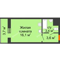 Студия 26,8 м², ЖК Космолет - планировка