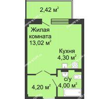 Студия 27,62 м² в ЖК Соловьиная роща, дом № 7 - планировка