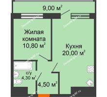 1 комнатная квартира 48,6 м², ЖК Дом № II-3 в мкр. Елецкий - планировка