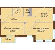 2 комнатная квартира 75,7 м², Жилой дом: ул. Почаинская д. 33 - планировка