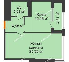 1 комнатная квартира 48,22 м², ЖК Гран-При - планировка