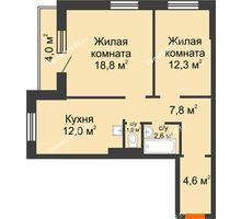 2 комнатная квартира 61,1 м² в ЖК Лесной массив, дом Строение 9 - планировка