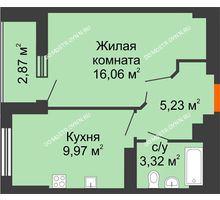 1 комнатная квартира 36,02 м², ЖК Орбита - планировка