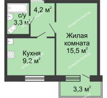 1 комнатная квартира 33,2 м² в ЖК Мега, дом № 5 - планировка