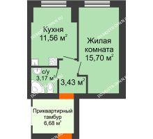 1 комнатная квартира 33,86 м² - ЖК Янтарный