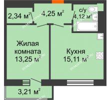 1 комнатная квартира 40,03 м², ЖК На Высоте - планировка