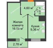 1 комнатная квартира 36,87 м² - ЖК Комарово