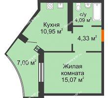 1 комнатная квартира 37,94 м² в ЖК Губернский, дом Литер 29 - планировка