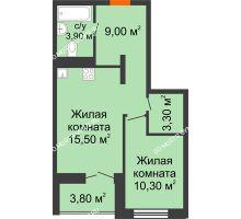 1 комнатная квартира 43,6 м² в ЖК КМ Анкудиновский парк, дом № 16 - планировка
