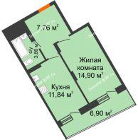 1 комнатная квартира 41,81 м², Жилой дом Кислород - планировка