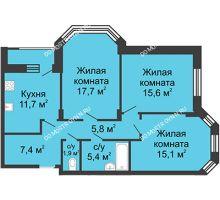 3 комнатная квартира 82,3 м² в ЖК Цветы, дом № 20 - планировка