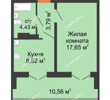 1 комнатная квартира 38,8 м² в ЖК Лазурный, дом 50 позиция (2-5 подъезд) - планировка