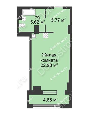 Студия 36,88 м² в ЖК Караваиха, дом № 5