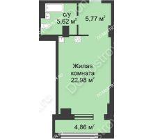 Студия 36,88 м² в ЖК Караваиха, дом № 5 - планировка