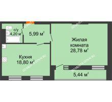 1 комнатная квартира 60,49 м², ЖК На Высоте - планировка