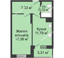 1 комнатная квартира 43,53 м² в ЖК Красная поляна, дом № 6