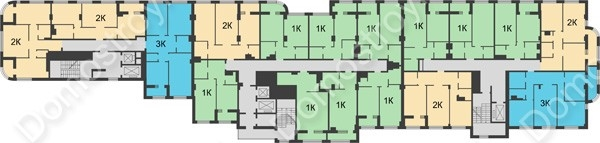 Планировка 4 этажа в доме № 5 в ЖК Караваиха
