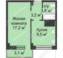 1 комнатная квартира 36,8 м² в ЖК Зенит, дом д. 7 - планировка