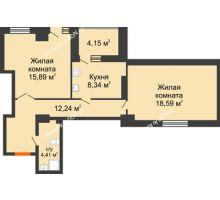 2 комнатная квартира 72,79 м², ЖК Максим Горький - планировка